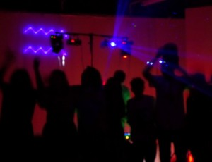 Dance floor with laser effect at 16th Birthday party at Coulsdon 2014
